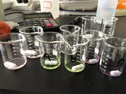 beakers in a lab